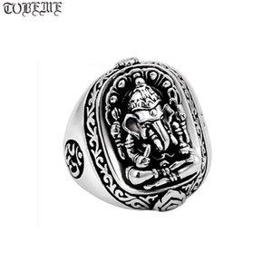100% 925 Gümüş Ganesh Buddha OM Yüzük Fil Burun Servet Tanrı İyi Şans Küme Yüzükler