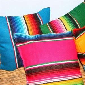 Donut Pillow Cotton Mexican Style Striped Sofa Cushion Ethnic 45x45cm Kids Gift Pillows