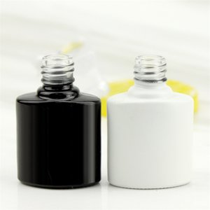 Empty 8ml Square Black and White Gel Nail Polish Glass Bottle with Exquisite Top Cap Flat Brush Factory Direct Sale