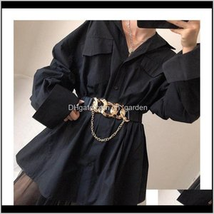 Золото Большая цепная пряжка кисточка ремни для женщин пальто сплошные широкие эластичные поясницы платье черное растяжение Cummerbund аксессуары TQKXF 2Dyrh