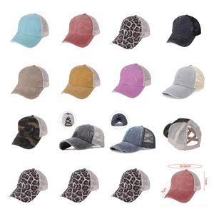 Dağınık Börekler Leopar At Kuyruğu Şapka 11 Stilleri Kadın Moda Yıkanmış Örgü Criss Çapraz Beyzbol Kap ZZA3002