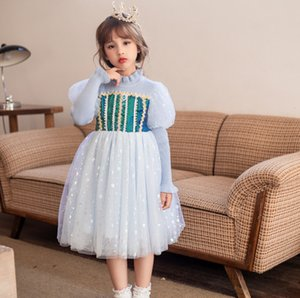 Girls colorful polka dots lace tulle dresses palace children ruffle collar gauze puff sleeve birthday party dress kids princess clothing Q2061