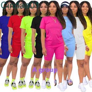 النساء قطعتين السراويل رياضية مصمم 2021 عارضة قصيرة الأكمام تتسابق بلون السيدات فضفاض تي شيرت الركض الدعاوى الرياضية