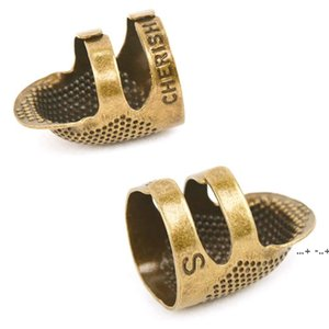 Coppers Brass Sewing Thimble Finger Protector Metal Shield Protector Pin Needlework Quilting Stitch Craft Sewing Accessories EWD5665