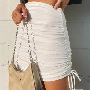 Ladies Summer Sexy Bust Skirt Women Fashion Solid Color Ruched Decoration Drawstring Slim Short For Shopping Travel Dating Skirts