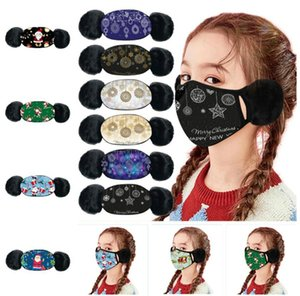 Christmas Warm Plush Mouth With Ear Muffs For Boys Girls Kids Cartoon Face Mask Winter 2 in 1 masks DHL
