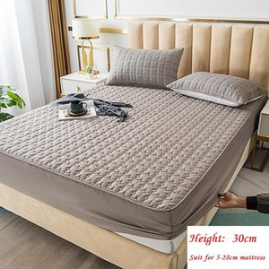 Non-Slip Bed Fitted Sheet, Quilted Mattress Cover, Protector Dust Solid Color Bedding Sets