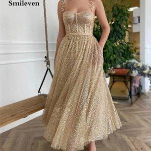 Smileven Gold Glitter короткие платья выпускного вечера ремни линии лодыжки длиной вечернее платье платья на заказ L0312