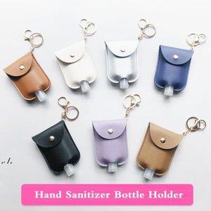 PU Leather Hand Sanitizer Bottle Holder Keychain Bag With 30ML Bottle Leopard Print Hand Soap Bottle Holder Key Ring Pendants RRE10675