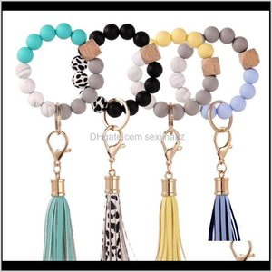 Jewelryssummer Sile Elastic Wooded Beads Chave Anéis Pulseira Charme Tassel Pingente Chaveiro Pulseira Pulseiras Bangelets Kimter-Q264FZ Gota entrega