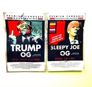 트럼프 og and sleepy joe og 3.5g 트럼프 졸린 조 Mylar evibles 가방 바이덴 꽃 포장 가방 지퍼 스탠드 업 주머니