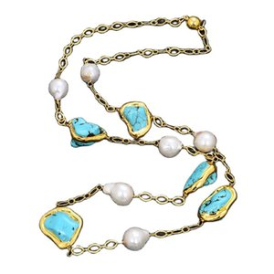 GuaiGuai Jewelry White Keshi Pearl Blue Turquoises Yellow Gold Color Plated Long Necklace Handmade For Women Real Gems Stone Lady Fashion Jewellery