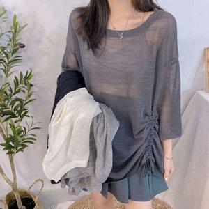 Yaz Buz Ipek Örme Gömlek kadın Gevşek Yarı Perspektif Üst Güneş Koruma Giyim Klima Elbise İnce Bölüm T-shirt