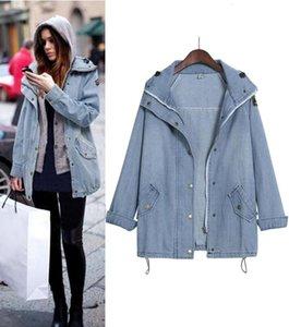 Women Oversize Denim Coat Winter Warm Jacket Zipper Long Sleeve Parka Ladies Plus Size Loose Blue Jean Hoodie Outwear #T2G
