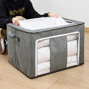 Garment Storage Box Durable With Transparent Window Zipper Blanket Pillow Clothing Bag Foldable Dirty Clothes Organizer Bags