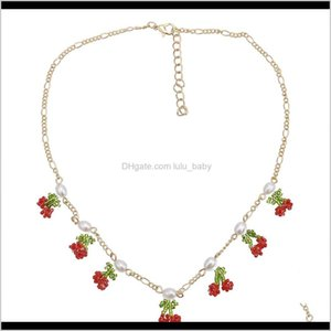 Cherry Pendant Charms With Imitation Pearl Chain Set Starement For Women Party Jewelry 0G6S3 Necklaces Qzgob