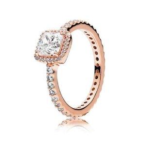 Bague de diamant en argent sterling CZ réel 925 avec logo Boîte originale Fit Style Pandora Style 18K Gold Engagement Bijoux de fiançailles pour femmes PS1695