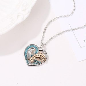 Pendant Necklaces Heart Dolphin Crystal Necklace For Women Korean Fashion & Pendants Jewelry Chain Cute Peach Clavicle