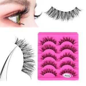 False Eyelashes 5Pairs Women Fashion Fake Eyelash Soft Natural Long Cross Eye Lashes Handmade Thick Extension Beauty Makeup Tools
