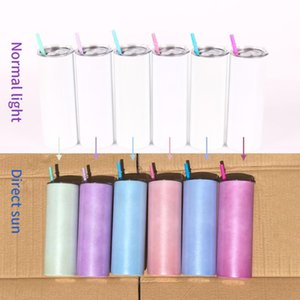 Mugs 20oz Stainless Steel Ultraviolet Skinny Tumbler Double Wall Vacuum Insulated Straight Color Change Under The Sun