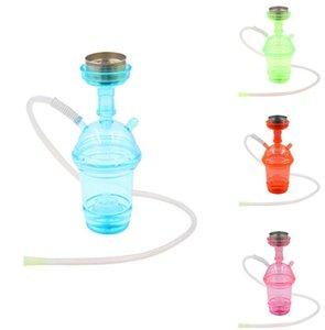 Hookah VAPOR LED with blue green pink lighting Complete Set 1 Hose Hookahs shisha Glass Vase for smoking green pink lighting