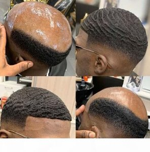 American Afro Wave Toupee for Men Mono Lace with PU Toupee Mens Wig Hairpieces Indian Virgin Human Hair Replacement for Black Men