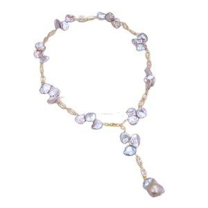 GuaiGuai Jewelry Purple Keshi Pearl Cz Pave Rectangle Chain Necklace Keshi Pearl Pendant Necklace Handmade For Women Real Gems Stone Lady Fashion Jewellery