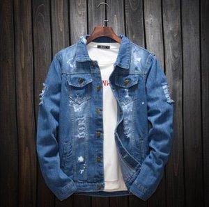 새로운 패션 럭셔리 디자이너 코트 남성 데님 재킷 슬림 맨 청바지 재킷 단단한 남성 Jean Jackets 남자 카우보이 outwear 의류 힙합 streetwear 크기 M-5XL