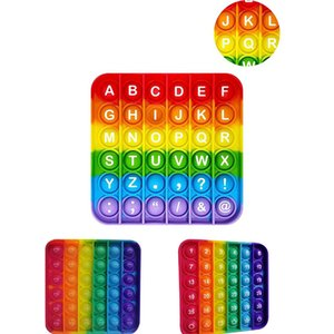 Rainbow English alphabet Numbers Fitget Toys Pop It Kid party favor Push Bubble Fidget Sensory Toy Autism Special Needs Stress Reliever Popoit Figet Speelgoed
