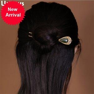 Uglyless Like a peacock feather Eastern Dress Hair Forks for Women Retro Fashion 925 Silver Hair Sticks Water Drop Jasper Jewels