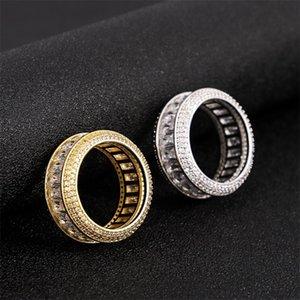 White 18k Hip Hop Cz Ring Jewelry Zirconia Band Luxury Cubic Gold Diamond Blingbling Gold Men & For & Ring Set Fashion Finger Full Ne 546 Q2