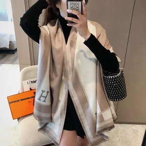 Korean autumn and winter H-letter cashmere like double-sided scarf thickened warm long versatile air conditioning shawl dual-purpose female