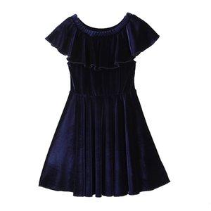 Платья темно-синий досуг ES мода летняя одежда детские девочки костюм дети партии Veet для девочки 4
