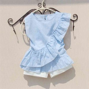 Casual Blouse Girl Arrival Summer Solid White Blouses Cotton Ruffle Sleeve Less Red Shirts Blue Striped Shirt for Teenagers 210622