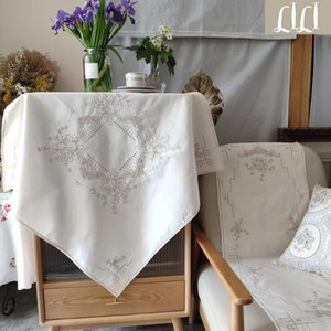 Hand-embroidered Drawnwork Beige Cotton And Linen Tablecloth Table Cloth