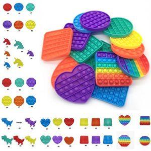 Regenbogen Push Bubble Poppers Board Fidget Sensory Toys Pop Die Blasen Puzzle Erwachsene Kinder Fingerspiel Anti Stress Poo-It Spielzeug Einfache Grübchen Schlüsselanhänger Teigball G32502