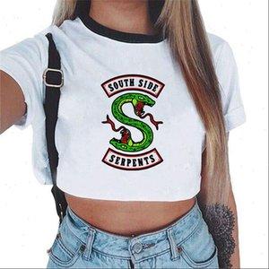 Bayan T Shirt 90s estetik kadınlar Güney Yan Yılanlar Tops Riverdale Baskı Beyaz Tişörtleri Kısa Kollu Yılan Grafik Tee