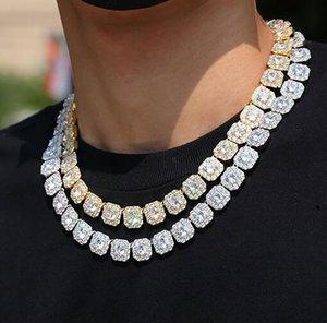 13MM Square Dianond Tennis Chain Luxury Cubic Zirconia Designer Diamond 14K Gold Tennis Chains Mens Jewelry Hip Hop 16-24inch