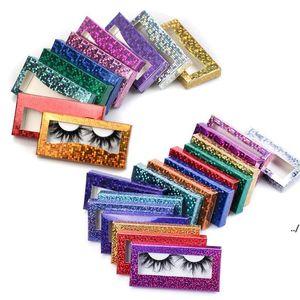 Glitter Laser Eyelash Paper Packing Box Eyelashes Packaging Case with Window for 25mm -28mm in Bulk DWA4441