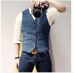 Men's Vests Suit Vest Blue Single Breasted Woolen Blended Mens Denim Jeans Waistcoat Jacket Slim Fit Casual Formal Business