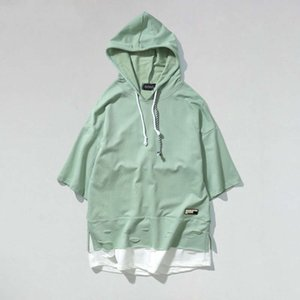 Ripped Curved Hem Drawstring Hoodie T-Shirt Mens Short Sleeve Off Shoulder Hoodies Tshirts Causal Loose Tee Black Green