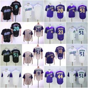 Retroceso 21 Frazier 51 Johnson 38 Schilling 9 williams 20 gonzalez 44 goldschmidt jerseys gris púrpura blanco negro vintage retro cosido