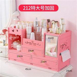 Caja de almacenamiento cosmética de escritorio Home Cajonera Espejo Cómoda Cajas de contenedores Maquillaje Cuidado de la piel Joyería Lápiz labial Estante Organizador Caja 393 R2