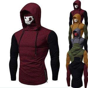 Mens Hoodies Colorblock Ninja Suit Sports Skull Mask Fitness Tracksuit Sweatshirt Long Sleeve