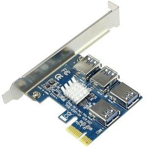 PCI-E 1 для адаптера Riser Card 1x Внешний 4 USB 3.0 Уминки MultiLier для BTC Miner Computer Cables Cables.