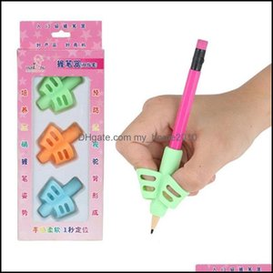 Refills Supplies Office School Business & Industrialpen Grips Sile Three-Color Mixing Student Stationery Posture Corrector Pencil Er Love Wr