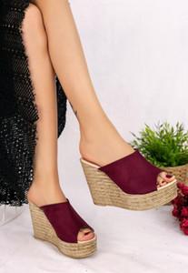 Sultan Jannifer Leather Slip On Wedge Heels Flats Burgundy Slippers Ladies Slides Female Mules Summer Fashion Shoes Women 2021 Sandals