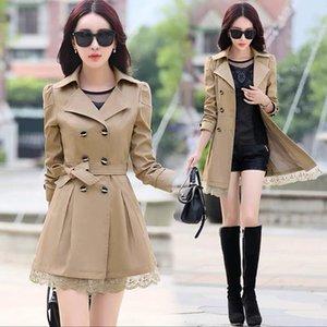 Women's Trench Coats Coat Women Button Double-Breasted Lace Female Spring & Autumn 11 Colors Windbreaker Outwear Size M-3XL Streetwear