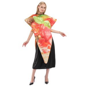 Pizza Halloween Theme Costume Composite Sponge Unisex Cosplay Clothes Party Loose Drawstring Costume