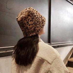 Winter Imitation rabbit hair rose Korean version of the bucket hat network leopard fisherman hat female inside Korean fashion plush pot